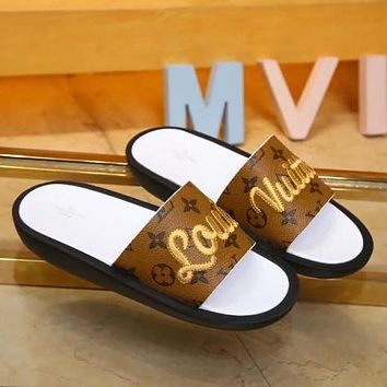Louis Vuitton LV Women Fashion Embroidery Slipper Sandals Shoes