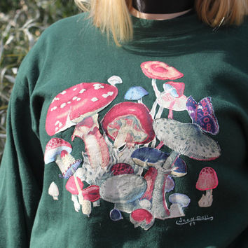 Vintage Hand-Made Mushroom Crewneck: 1997, hippie, hipster, one of a kind, sweatshirt, Jean Doll