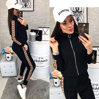 """Fendi"" Women Fashion Casual Webbing Letter Pattern Print Long Sleeve Trousers Two-Piece Set Sportswear"