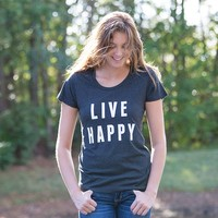 Extra-Large  Black  Live  Happy  Statement  Tee  From  Natural  Life