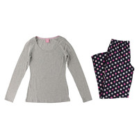 Jenni by Jennifer Moore Womens Slub Polka Dot Pajama Set