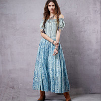 Blue Denim Off-Shoulder Printed  Paneled Spliced Maxi Dress
