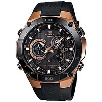 Casio Edifice Solar Multi-Band 6 Atomic Mens Chrono - Black & Rose Gold-Tone