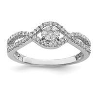 Sterling Silver Round Cluster Diamond Promise Ring