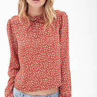 FOREVER 21 Pleated Neck Floral Blouse Rust/White