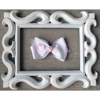 Baby Pink Monogrammed White Hairbow-5 Options Available
