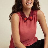 Flavor Fusion Collared Sleeveless Top in Apple