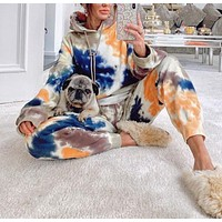 2020 new products women's tie-dye color matching casual all-match hooded long-sleeved sweater + trousers two-piece suit