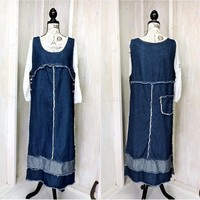 Denim maxi dress / jumper /  Size  10/ 12 / loose fit jean dress / long denim casual dress