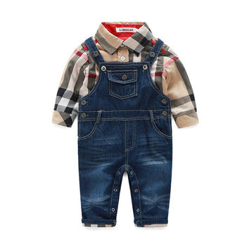 New Arrival 2016 Boys Girl Clothes Baby Sport Suit Plaid Shirt + Denim Jeans Pants  Baby Overalls