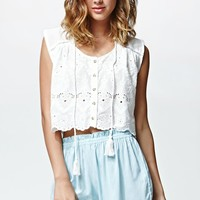 Some Days Lovin Pit Stop Lace Cropped Top - Womens Shirts - White