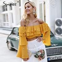Off shoulder pearl sexy blouse