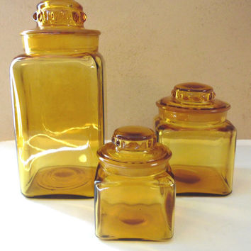 Golden Amber Brown Glass Canister Set of Three Canisters Storage Containers Glass Apothecary Jar