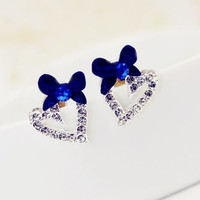 BLUE BOWKNOT AND SPARKLY HEART EARRINGS
