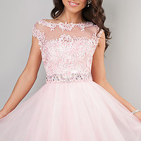 Short Cap Sleeve Lace Dress by Dave and Johnny