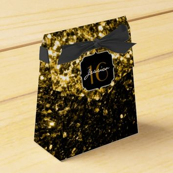 Beautiful Gold glitter sparkles Sweet 16 favor box Party Favor Box