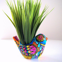 Bird Planter Day of the Dead Folk Art Ceramic Vase Spring Decor Painted turquoise orange pink yellow - MADE TO ORDER