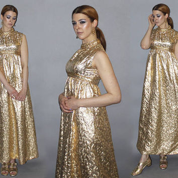 Vintage 60s METALLIC GOLDEN GODDESS Maxi Dress / Lurex Party, Cocktail, Special Occasion, Wedding Dress / Empire Waist  / Ooak / Xs