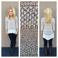 White Light-Knit & Chiffon Long Sleeve Sweater Top