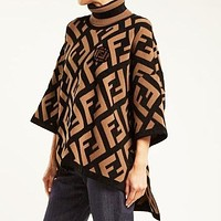 FENDI Fashion Women Casual F Letter Jacquard High Collar Knit Sweater Sweatshirt Top
