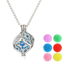 Aromatherapy Fragrance Diffuser Cubic Filigree Locket Pendant Necklace