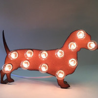MINI DACHSHUND Weiner Dog MARQUEE Love Sign made of Rusted Recycled Metal Vintage Inspired