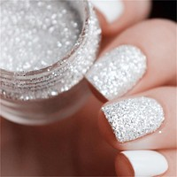 Women Nail Glitter  Silver Powder