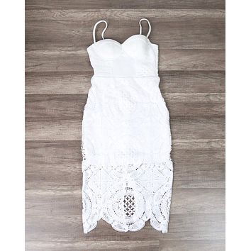 Lioness - Bustier Midi Lace Dress in More Colors