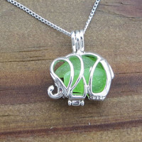 Sea Glass  Elephant Kelly Green Necklace Lime Green Kelly Green