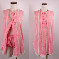 Vintage 60s Pink Stripe & Ivory Lace - Button Up Sleeveless Tank Nightie Bloomer Shorts Set - Lingerie Retro Pin Up