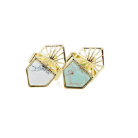 Inner Dia 17mm Trendy New Design Turquoise Opal Ring Bridal Sets Triangle Marble Natural Stone Rings For Women Gift