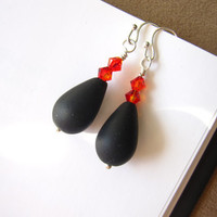Black seaglass Halloween earrings - Perfect Bridesmaids earrings for Halloween Wedding or Bachelorette Party - Special FREE SHIPPING