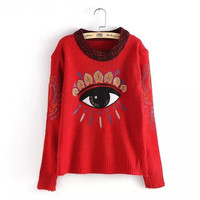 Eye Embroidered Long Sleeve Knitted Pullover Sweater