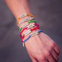 Color Cord Bracelet with Inspirational Words