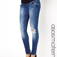 ASOS Maternity Skinny Dream Jean in Distressed Finish