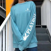 PLAYBOY Fashion New Bust And Back Embroidery Letter Rabbit And Sleeve Letter Rabbit Print Women Men Long Sleeve Top Sweater Blue