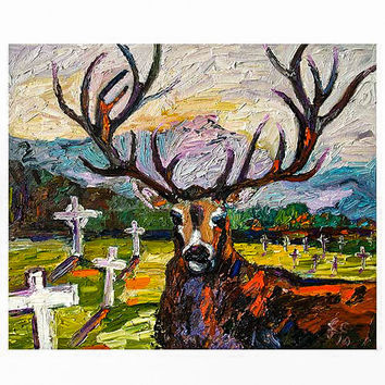 Deer in Cemetery The Guardian Original Oil Painting by Ginette Callaway