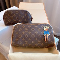 Louis Vuitton LV new presbyopia all-match printed letters double zipper handbag + cosmetic bag