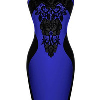 Blue and Black Lace Panel Sleeveless Bodycon Dress