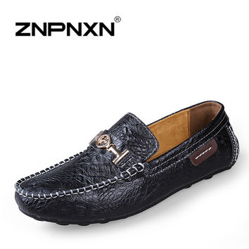 top quality men leather shoes summer Breathable flats casual classic driving loafers boats shoes 4 colors free shipping