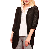 3/4 Sleeve Draped Open Knit Cocoon Cardigan