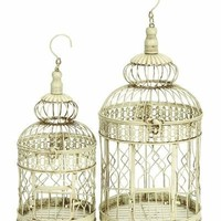 "Benzara White Metal Round Parakeet Birds Cages 22"" (Set of 2)"