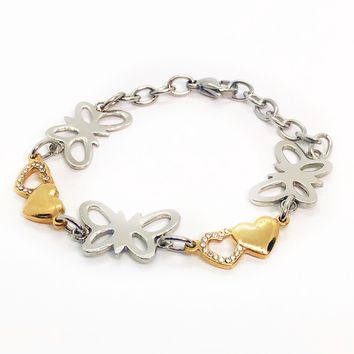 Butterfly Hearts Two Tone Stainless Steel Bracelet