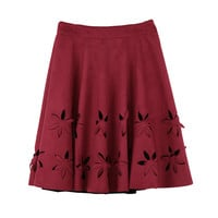 Faux Suede Cut-out Flower High Waist Pleated A-Line Skirt