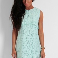 Mint Hue Green Lace Overlay Shift Dress | Pink Boutique