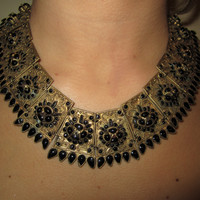 Vintage Necklace Etruscan Revival Chocker with Black Stones