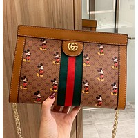 GUCCI & Disney New fashion stripe mouse more letter print leather crossbody bag shoulder bag women