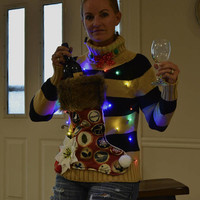Wine Holder Ugly Christmas Sweater, Light up, Women's Medium, stocking, alcohol, wine, novelty, jumper, one of a kind, party pocket