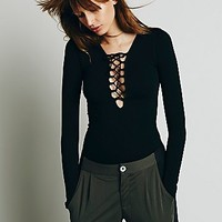 Intimately Womens Lace Up Layering Top