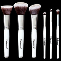 Blush Makeup Brush Set - Professional Kit with 6 Essential Face and Eye Makeup Brushes - Kabuki Eyeshadow Powder Foundation Eyeliner - Synthetic Bristles of Premium Quality for Airbrushed Finish - Available in White and Black